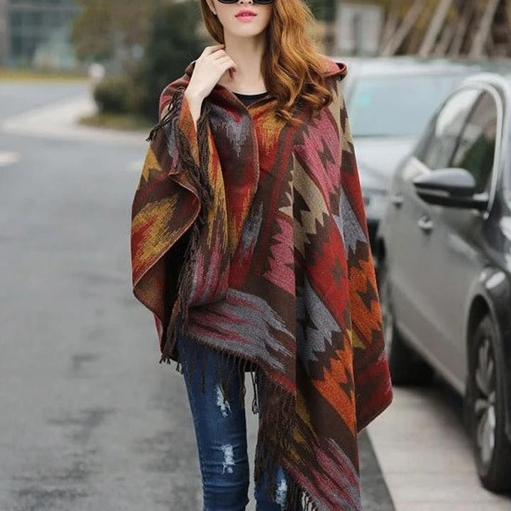 Wool Warm Shawl Scarves Poncho Hooded Aztec Winter Snow Cold Gift