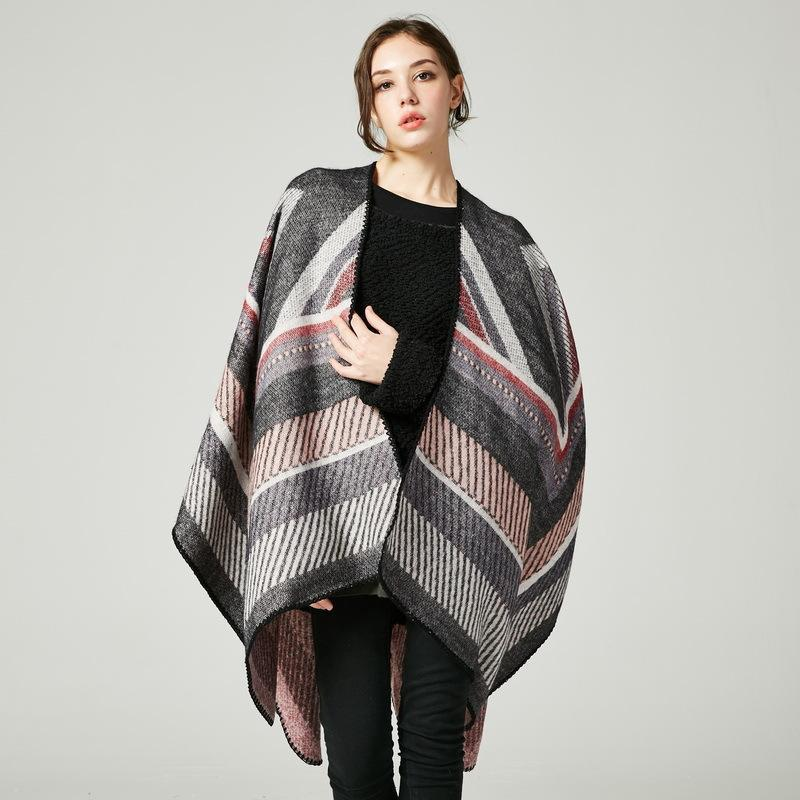 Wool Cardigan Women Vintage Scarf Capes Winter Cashmere