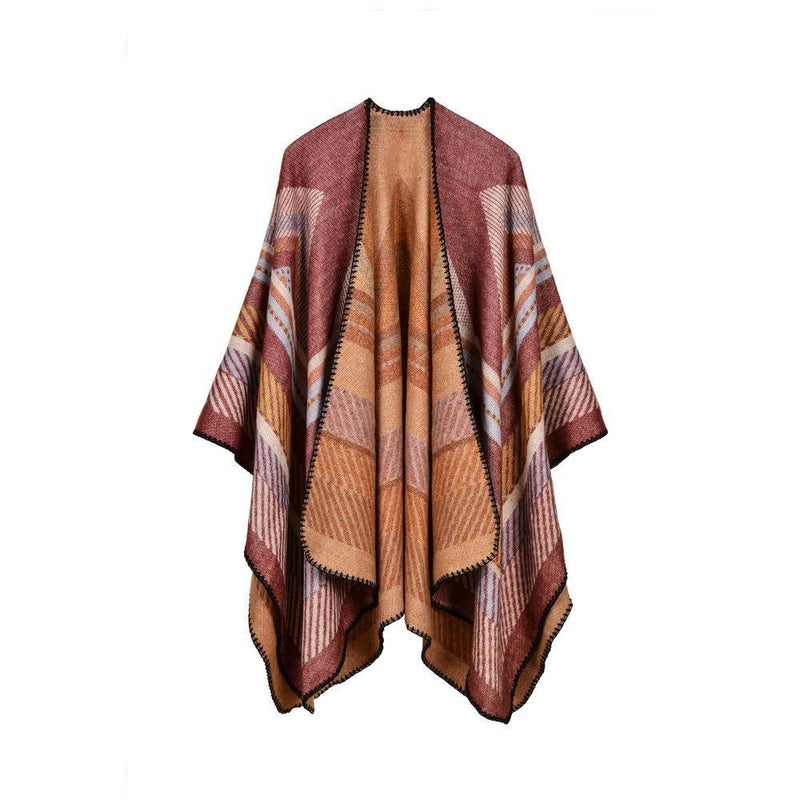 Fall Retro Stripes Poncho