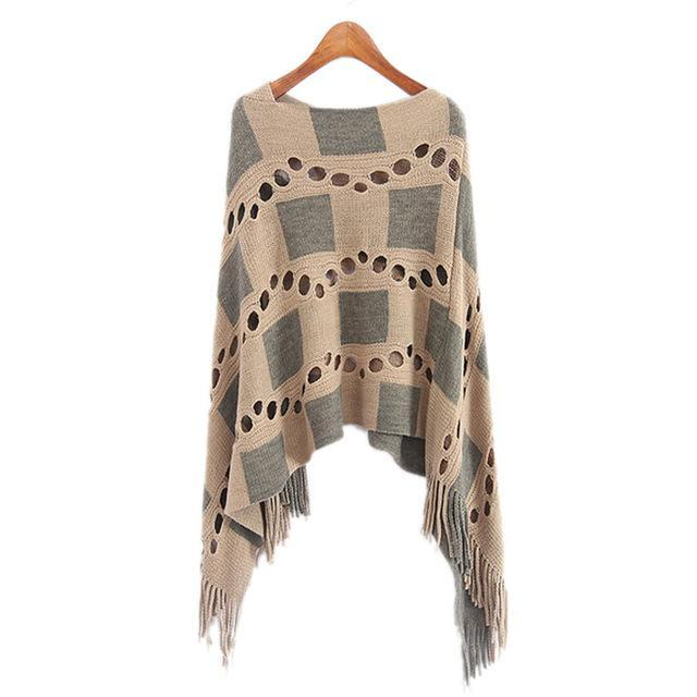 Winter Warm Sweater Stitching Shawl Poncho Cape