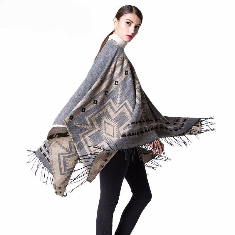 Wool Women Winter Warm Shawl Poncho Fall Classic Cheap Cashmere Cardigans Capes