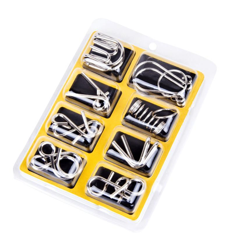 Assorted Brain Teasers Metal Wire IQ Mind Puzzles ( 8pcs/lot )
