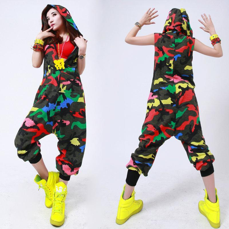 European Dancer Korean Leopard Jumpsuit Dance Camouflage Loose Pants