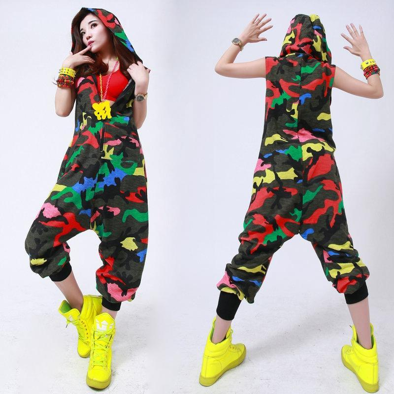 Fun Style European Dancer Korean Leopard Jumpsuit Dance Camouflage
