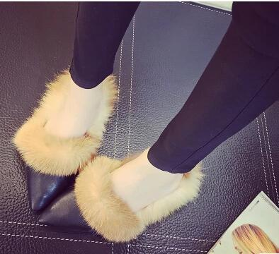 High Party Spring Summer Slipper Sandals Rabbit Pointed Fur Fluffy Designer Brand