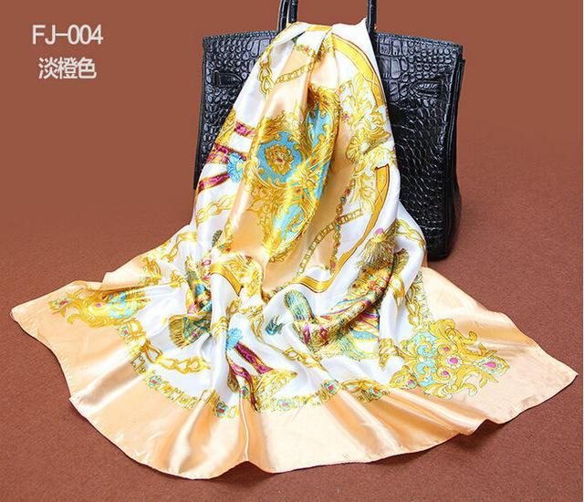 Silk Scarves Scarf Satin Neck High Quality Fashion Fancy Chain
