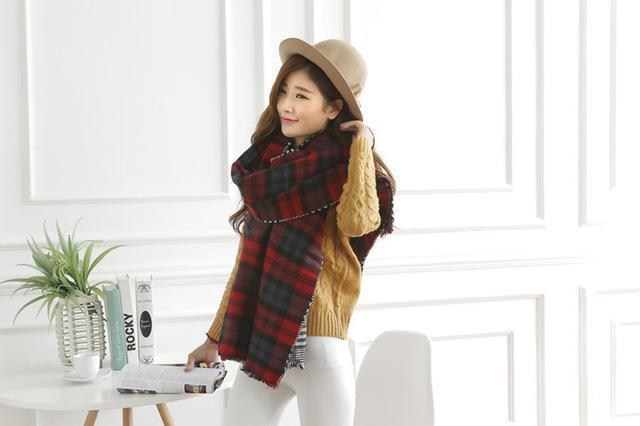 Wool High Quality Winter Warm Scarf Poncho Plaid Double Sided