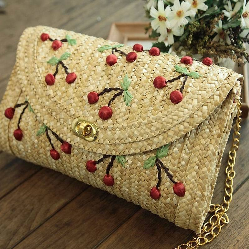 Clutch Straw Shoulder Bag Flap Embroidery Cute Cherry Bohemian Beach Bag