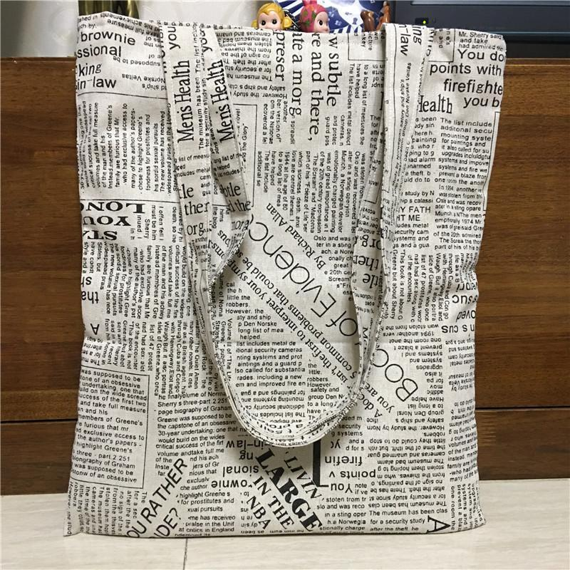 Cute School Cotton French Shoulder Shopping Letter Newspaper Canvas