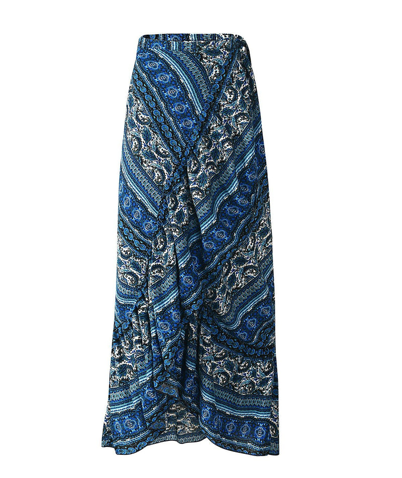 Beach Walk Split Ruffled Wrap Maxi Skirt