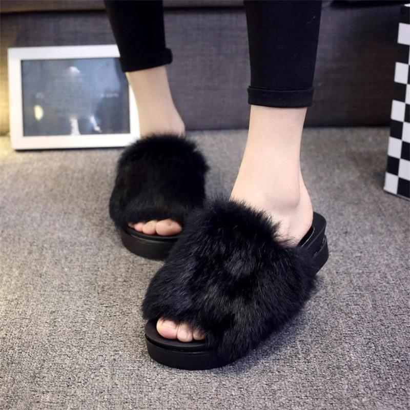 Designer Chic Fancy Slippers Sandals Fur Fluffy Faux Cute