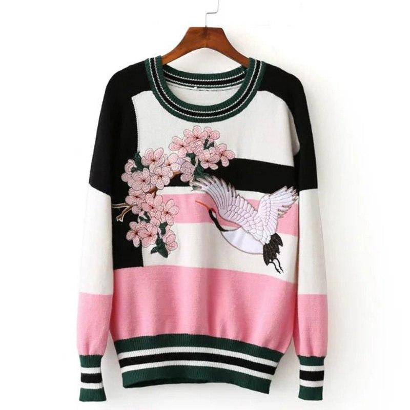 Bird and Flower Embroidery Winter Sweater