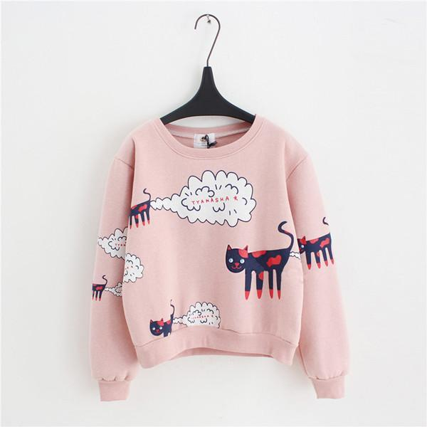 Sweater Kyoto Tokyo Japanese Sweatshirts Pullover Pink Kitty Hello Cute Cat