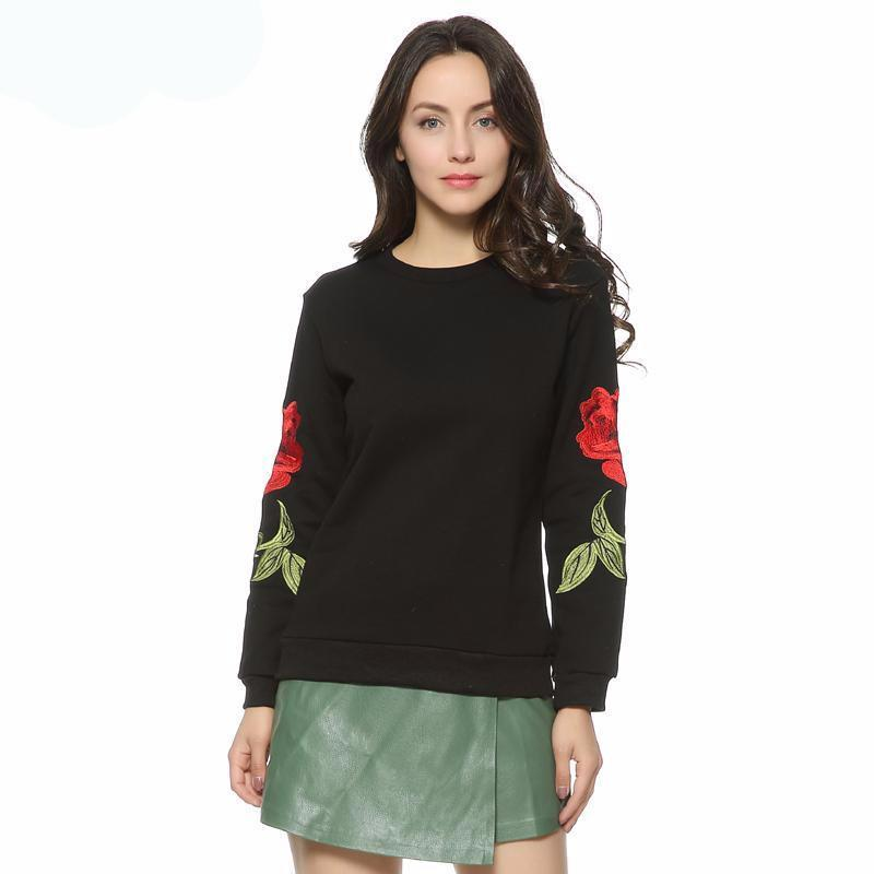 Ivy Knitted Hot Style Fun Warm Winter Cute Embroidery Rose Loose Sweater