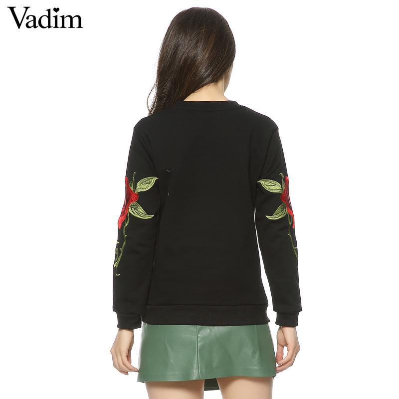 Kendall Loose Embroidery Floral Sweatshirts