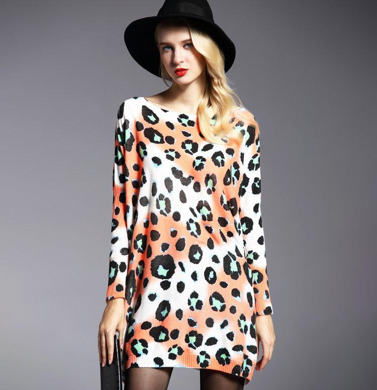 Wool Knitted Warm Party Size Plus Winter Fall Cute Oversize Leopard