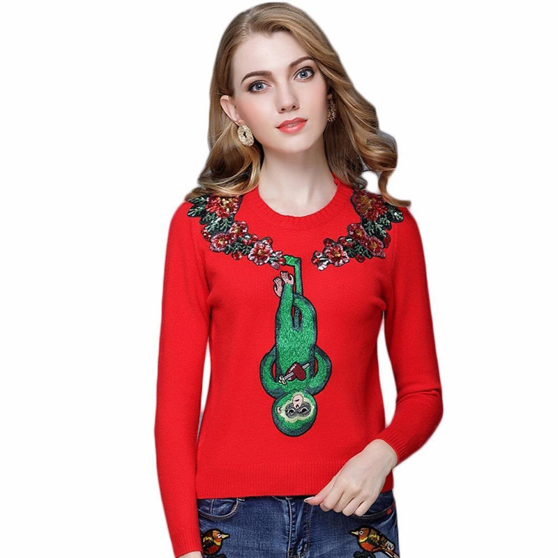 Monkey Love Embroidered Sweater