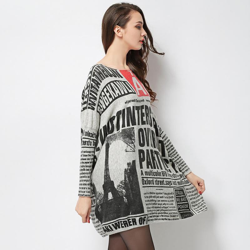 Parisian Letters Newspaper Long Oversize Sweater