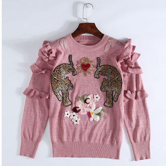 Ruffle Embroidered Leopard Patch Pullover Sweater