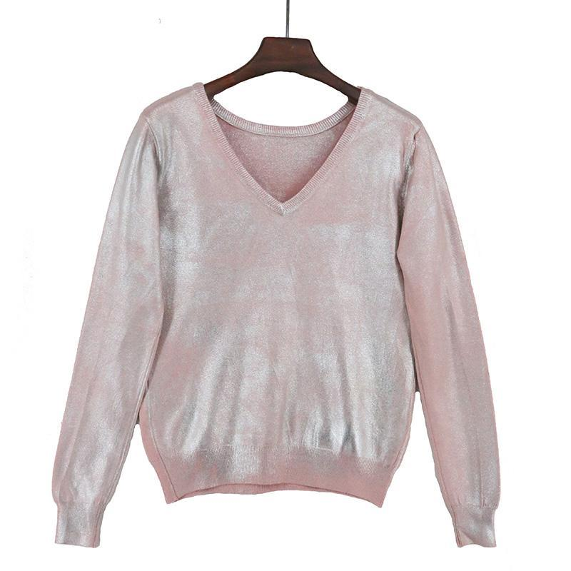 Gift Spring Light Cute Sweater Sparkle Shiny Metallic Knitted Designer Brand