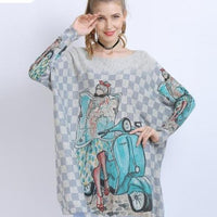Woman  winter  Vespa  Travel  sweater  light  Free Soul  Cute  Bike