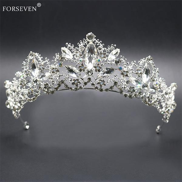 Sweet Bridal Women Girls Wedding Tiara Silver Queen Hair accessories Hair Crystal Crown Bride