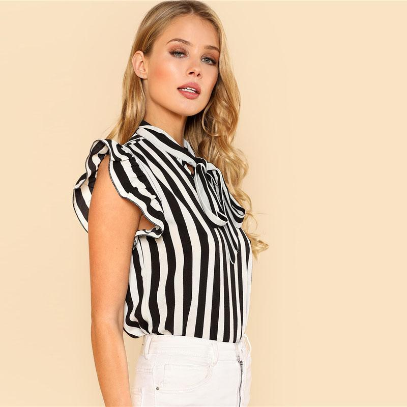 Formal Casual Cute Top Summer Strips Ruffle Office Bow Tie Work Party