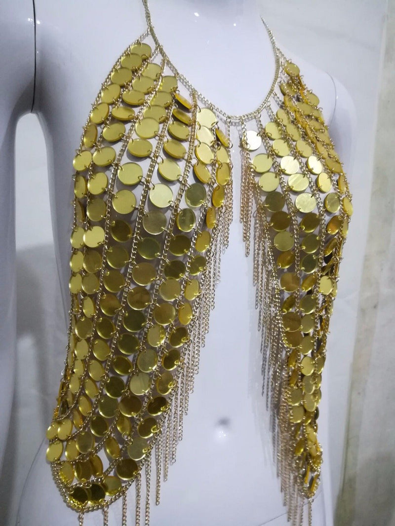 Exotic Metal Coin Chain Sequins Gladiator Top