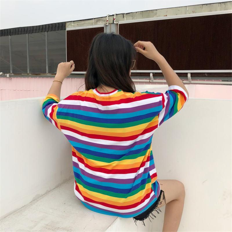 Free Spirit Rainbow Striped T Shirt