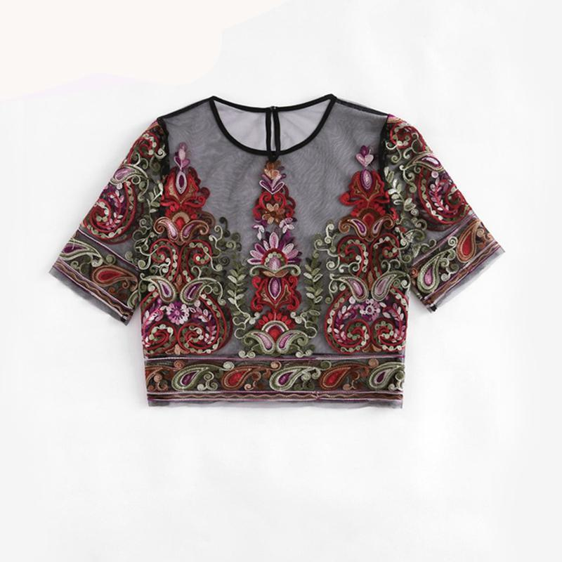 Spring Flowers Embroidered Mesh Top