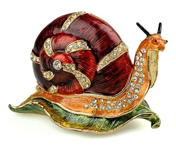 Gift Red Trinket Earring Ring Jewelry Snail Cute Box
