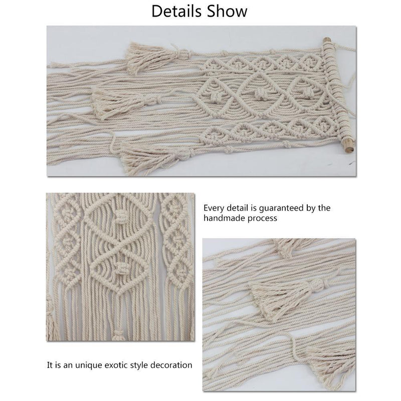 Boho Handmade Wall Hanging Macrame Tapestry with Lace Fabrics