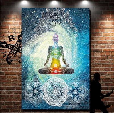 Positive Circle Energy Zen Yoga Wall Tapestry Meditation Mat Mandala Indian Cover Chakra Buddha