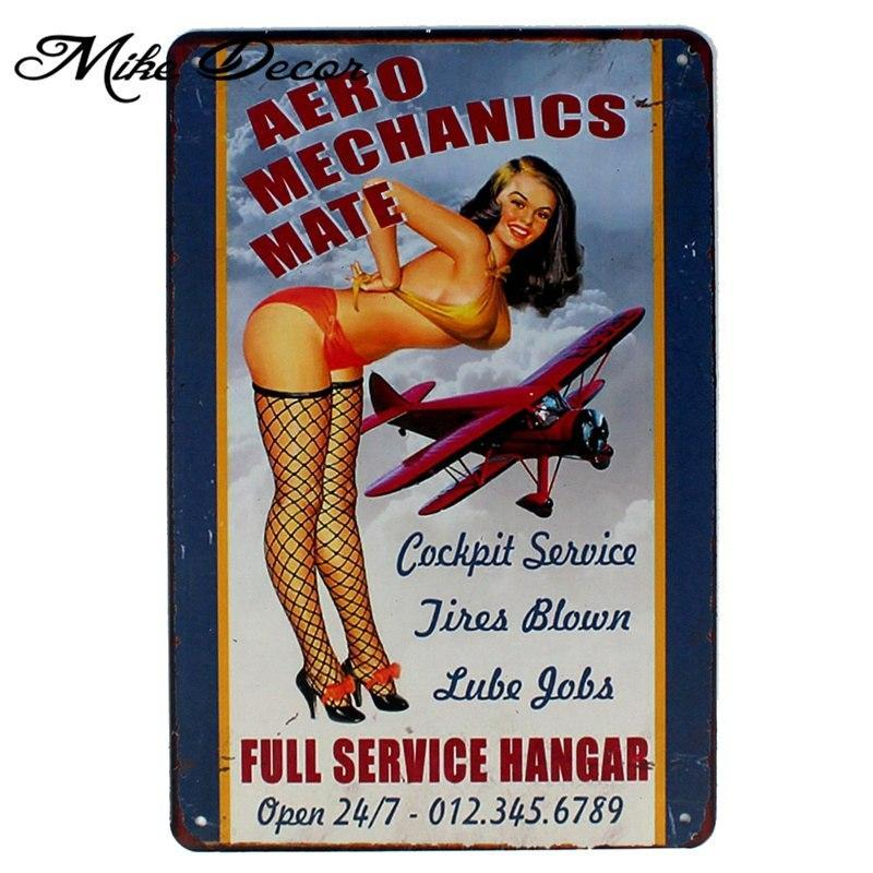 Vintage Pinup Girl Metal Sign