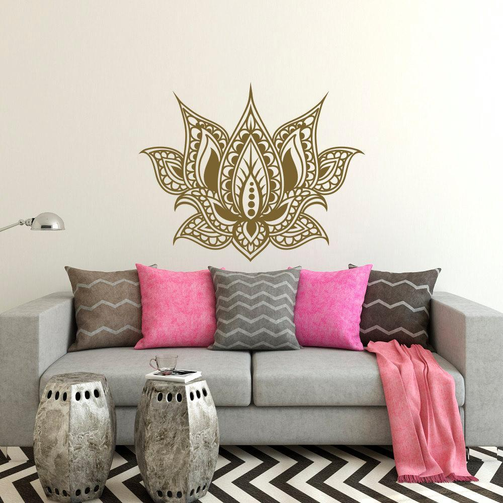 Yoga Wall Sticker Wall Art Lotus Flower Decor Boho Bedroom 3D Design  Delete product Save