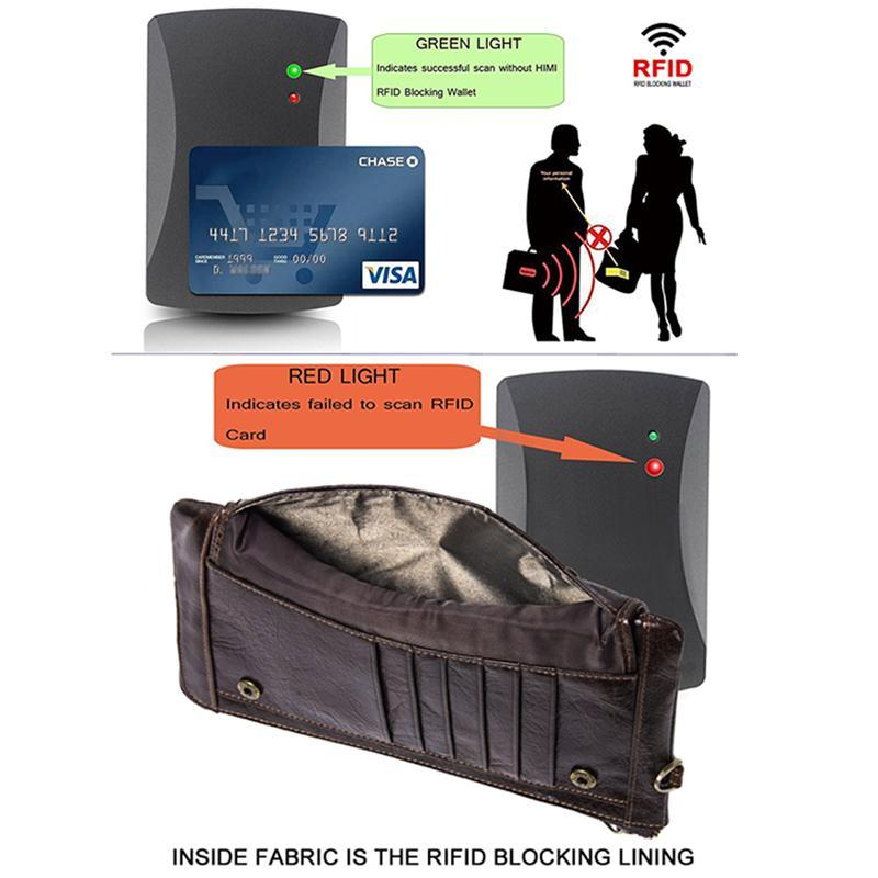RFID Blocking Leather Phone Organizer Wallet