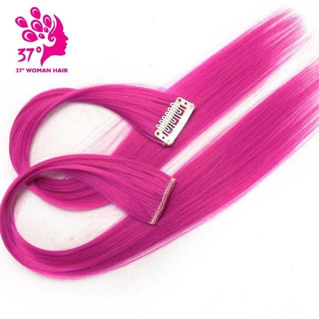 Hairpieces Clip In Wig Synthetic Straight Ombre Hair Extensions
