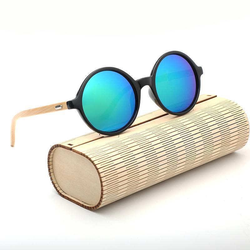UV Protection Wood Travel Round Mirror Fun Cool Boho Bamboo