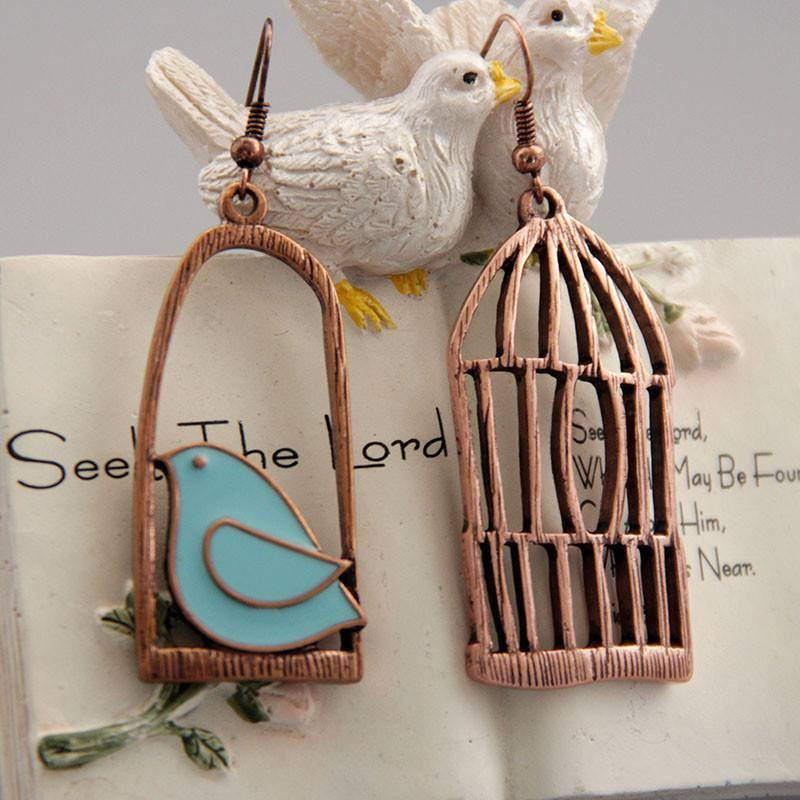 Earrings,Bronz,Brass,Cute,Bird, Cage, Morghe Amin