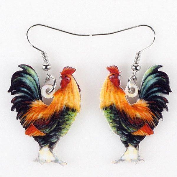 Earrings Colorful Rooster Cute Wings Acrylic