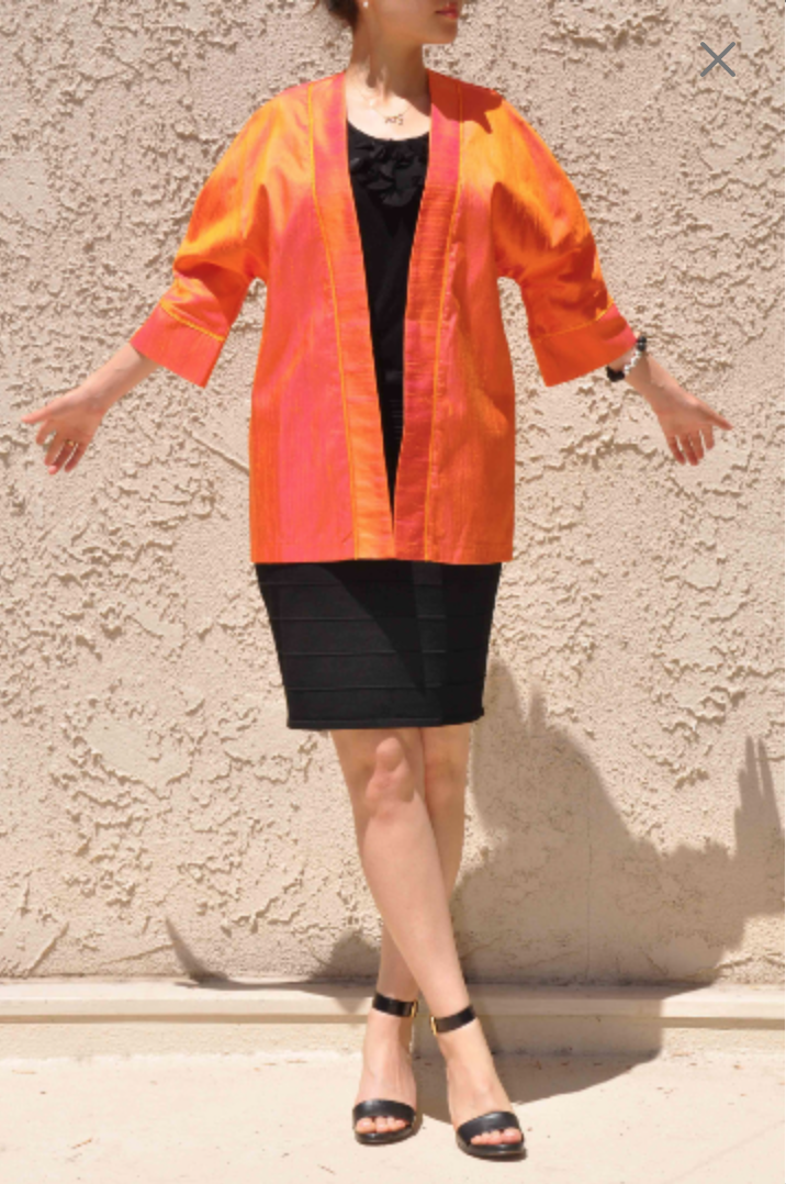 Silk Shiny Spring Vintage Oversized Light Plus Size Orange