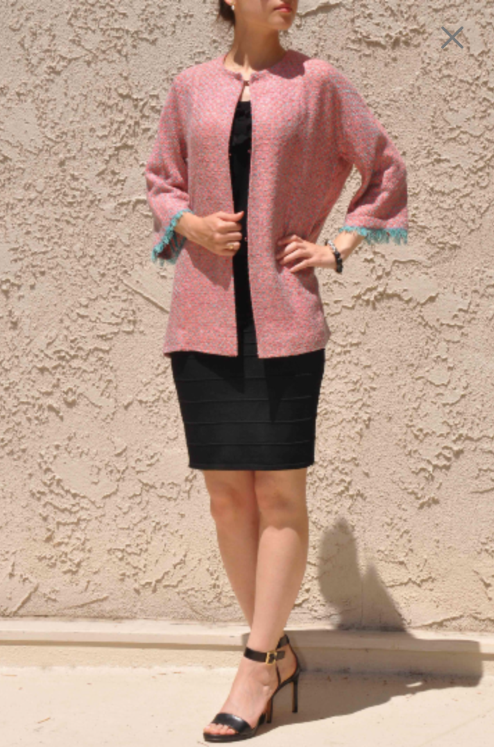 Rose Brand Design Cute Oversized Light Jacket Turquoise Woven Pink