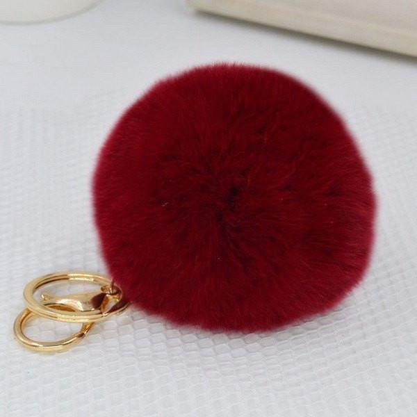 Fur, Rabbit ,Key chain ,Fluffy, Ball, Pendant