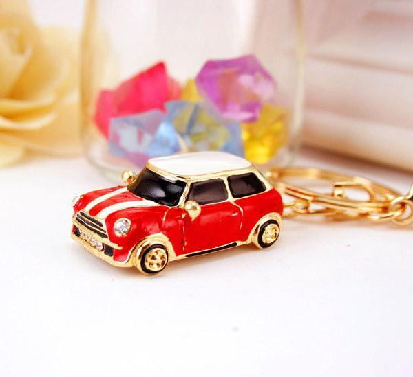 Key Chain, Car, Mini, Bmw, Red, Gold, Ring, Holder