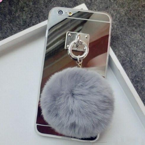 Soft Silver Rose Phone Mirror Fur Cute Color Case
