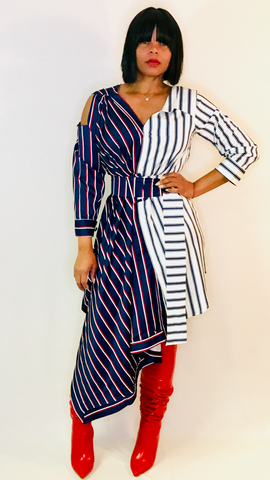 Mr Right Stripe Tuxedo Shirt Dress