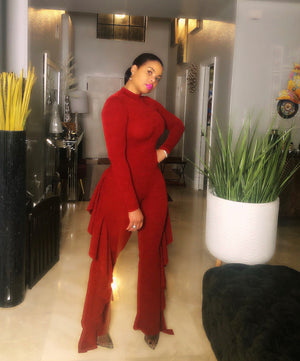 Cameron Burgundy Color Ruffle Jumpsuit