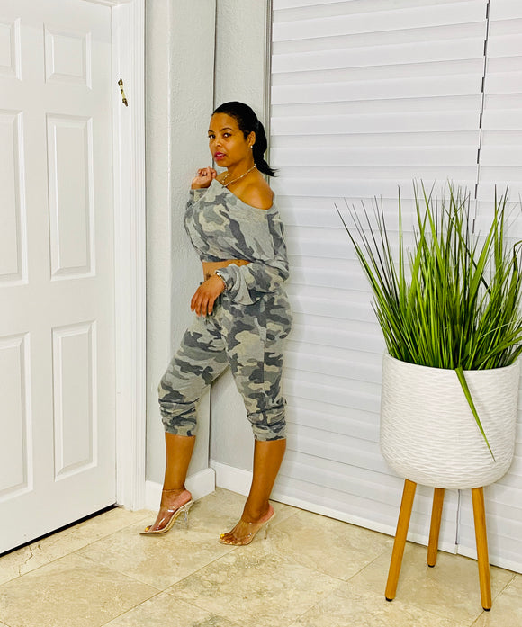 Styled In Camouflage Jogger Two Piece