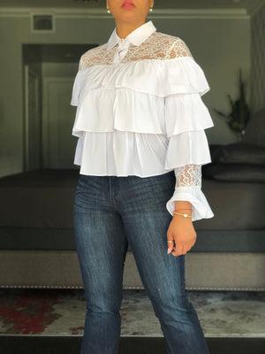 Ruffle And Lace Top -Yellow and White