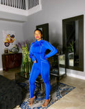 Come Heather Piping Jumpsuit Set - Blue